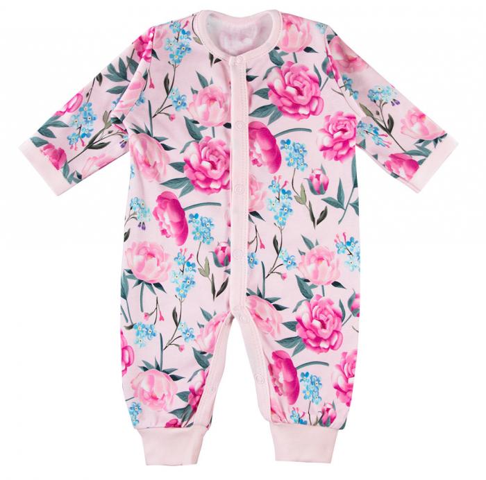 Pijama intreaga fara talpa, bumbac 100%_fete_Roz/Flori_PEONY 0