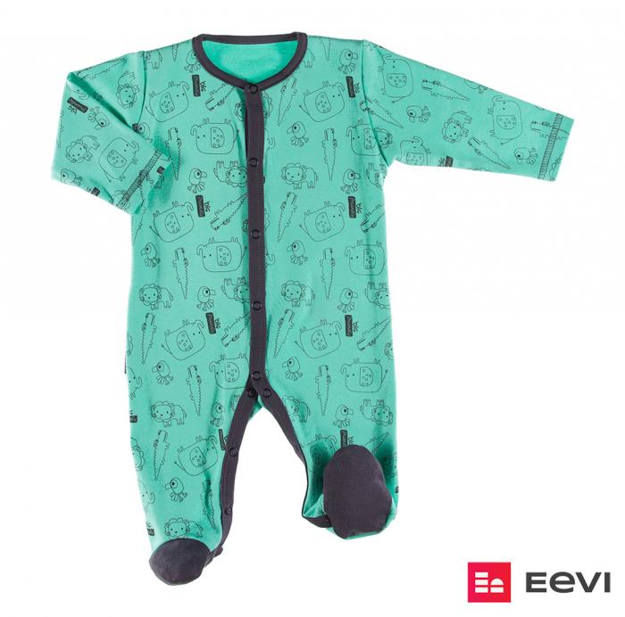 Pijama tip salopeta intreaga cu talpa bumbac 100%_verde_Sawanna 0