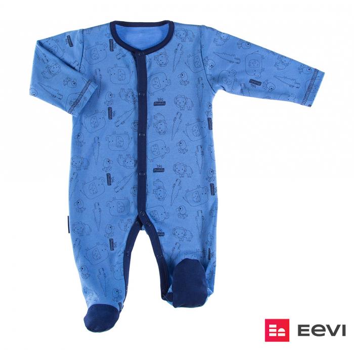 Pijama tip salopeta intreaga cu talpa bumbac 100%_blue_Sawanna 0
