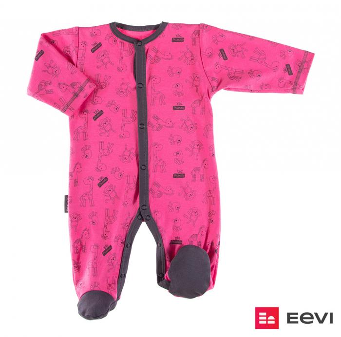 Pijama tip salopeta intreaga cu talpa bumbac 100%_roz_Sawanna 0