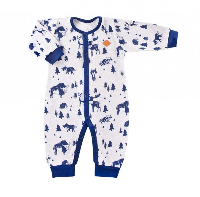 Pijama tip salopeta, intreaga fara talpa, Gri/Albastru, Trip 0