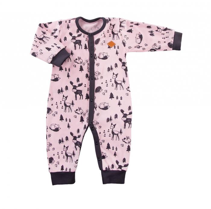 Pijama tip salopeta intreaga, fara talpa, bumbac 100%_Roz/Gri 0