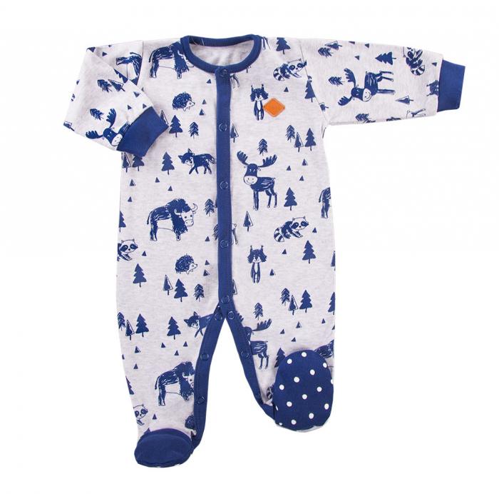 Pijama tip salopeta, intreaga cu talpa_Gri/Albastru_Trip 0