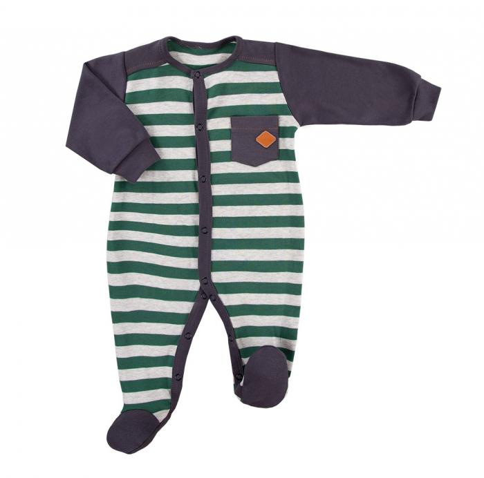 Pijama tip salopeta, intreaga cu talpa, bumbac 100%_Gri/Verde_Trip 0