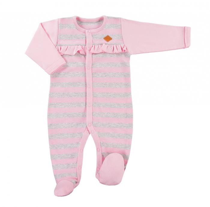 Pijama tip salopeta, intreaga cu talpa, bumbac 100%_Roz/Dungi gri_Trip 0