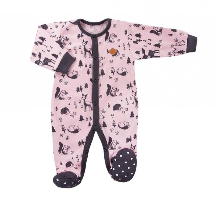 Pijama tip salopeta intreaga cu talpa antiderapanta, bumbac 100%_Roz/Gri_Trip 0