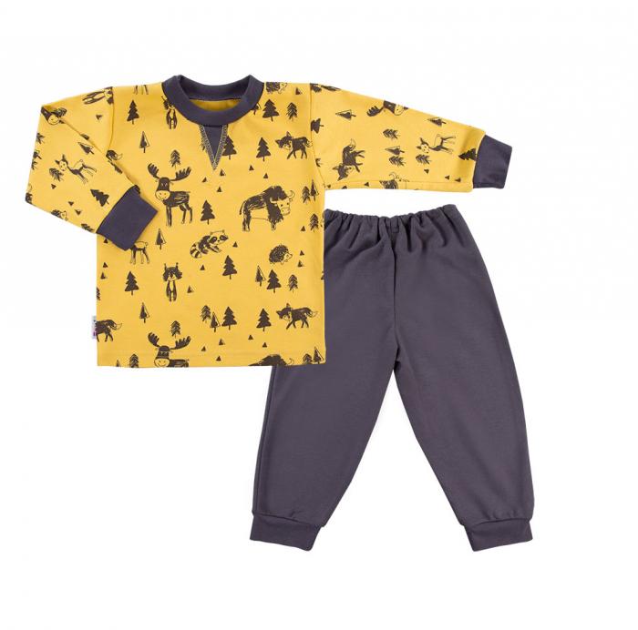 Pijama doua piese, bumbac 100%_Galben/Gri_Trip 0