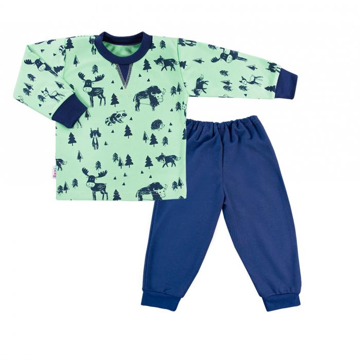 Pijama doua piese, bumbac 100%, Verde/Albastru, Trip [0]