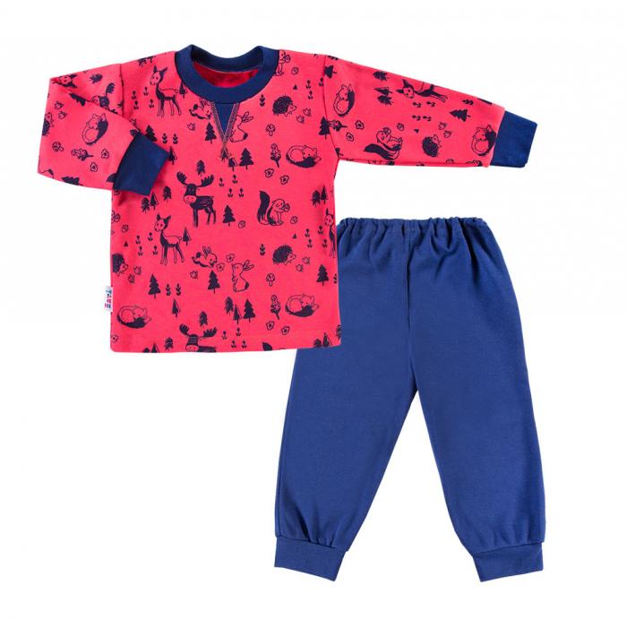 Pijama din doua piese, bumbac 100%, Rosu/Albastru, Trip [0]