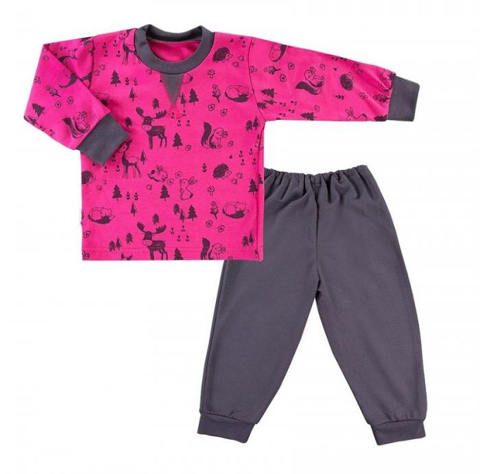 Pijama doua piese, bumbac 100%, Roz/Gri, Trip 0