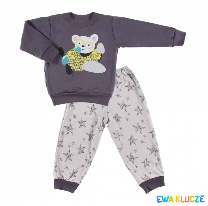 Pijama 2 piese, pantalon si bluza cu maneca lunga, Gri [0]