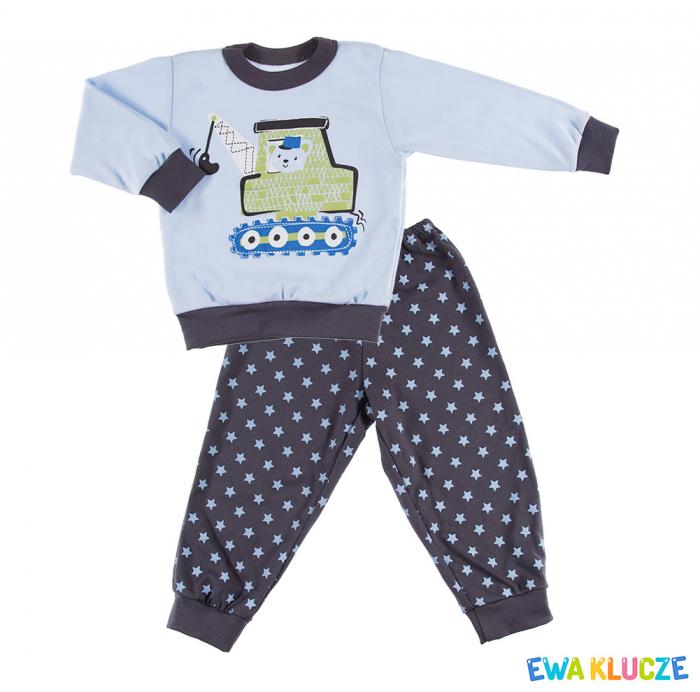 Pijama 2 piese_Pantalon si bluza cu maneca lunga_Albastru/Gri_Dobranoc grafit 0
