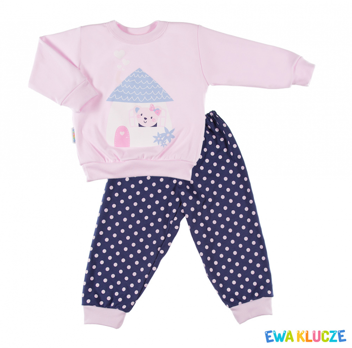 Pijama 2 piese, pantalon si maneca lunga, Roz/Albastru 0