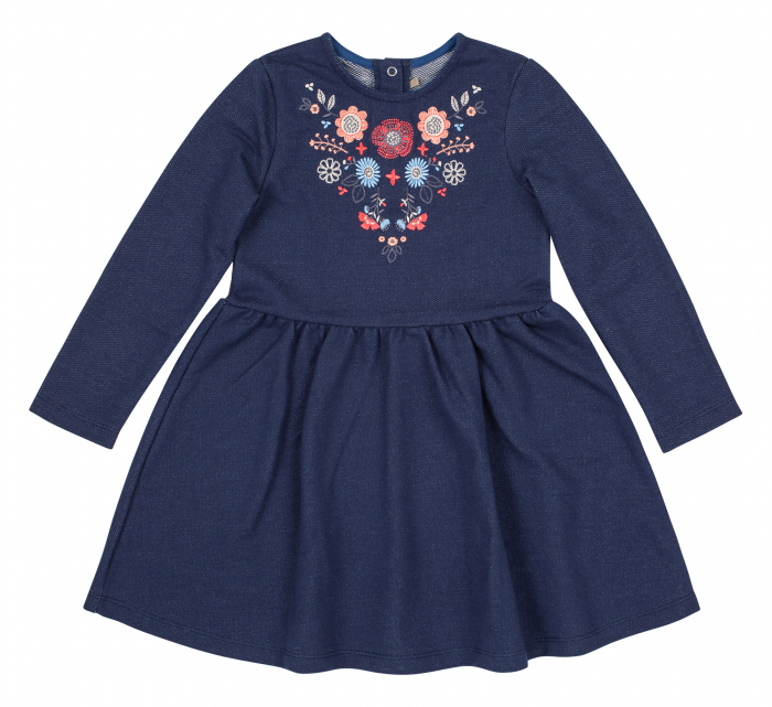 Rochie cu maneca lunga, fete, Albastru/Flori 0
