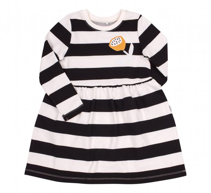 Rochie cu maneca lunga, fete, Dungi, Alb/negru 0