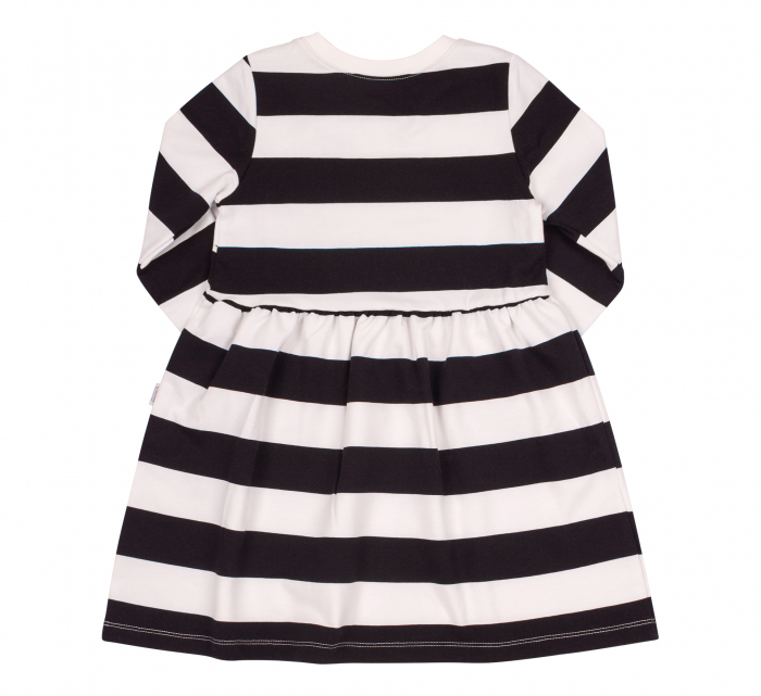 Rochie cu maneca lunga, fete, Dungi, Alb/negru 1