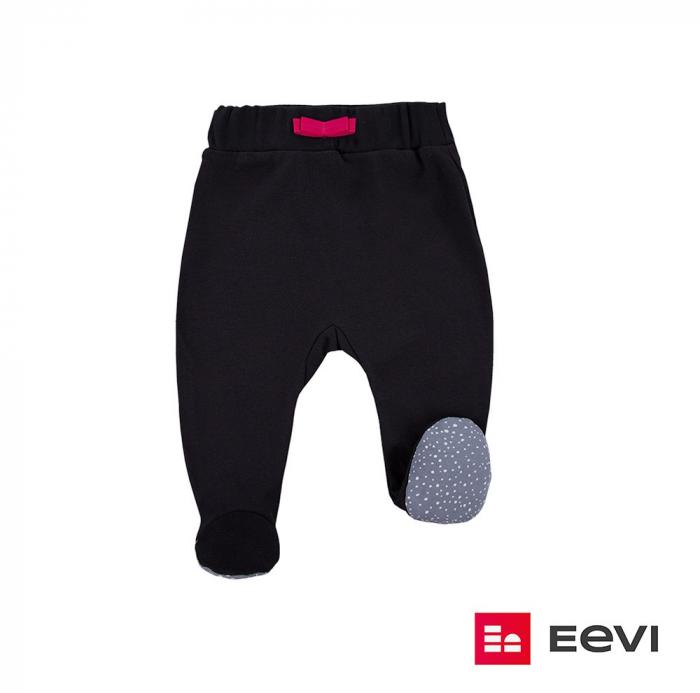 Pantaloni pijama cu talpa 100% bumbac _Negru_Girl Power 0
