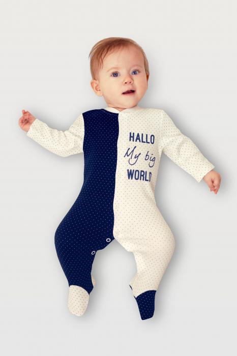Pijama tip salopeta intreaga cu talpa bumbac organic100%_ Alb/Blue navy cu buline_September 1