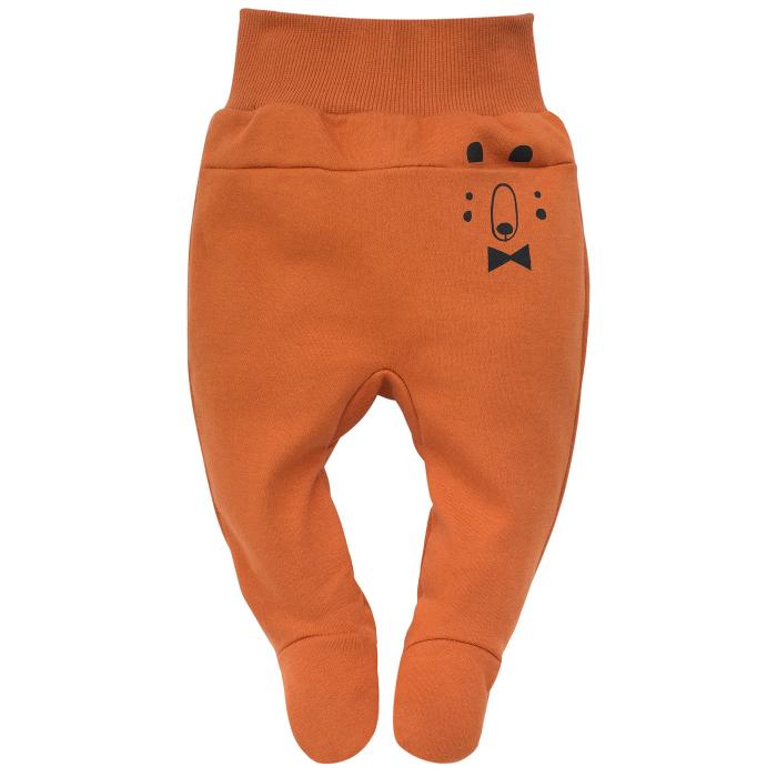 Pantalon tip pijama cu talpa, bumbac 100%, baieti, Caramiziu, Bears [0]
