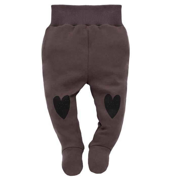 Pantaloni pijama cu talpa, 100% bumbac, Maro, Little bird 0