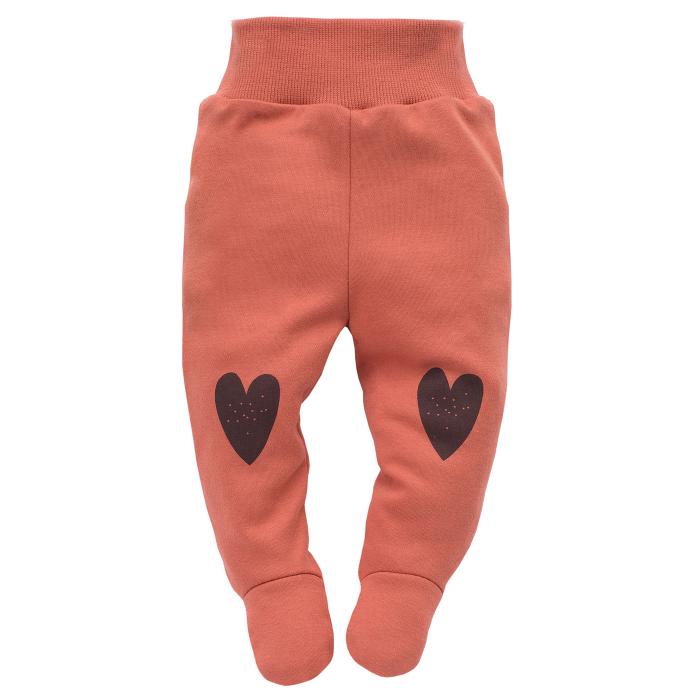 Pantaloni pijama cu talpa, 100% bumbac, Caramiziu, Little bird 0