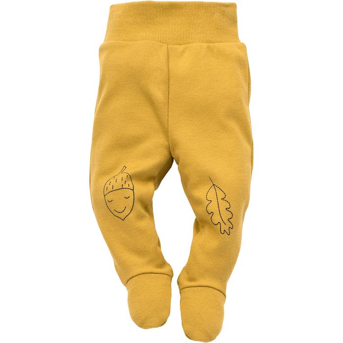 Pantalon tip pijama cu talpa 100% bumbac, maro/mustar, baieti_Secret forest 0