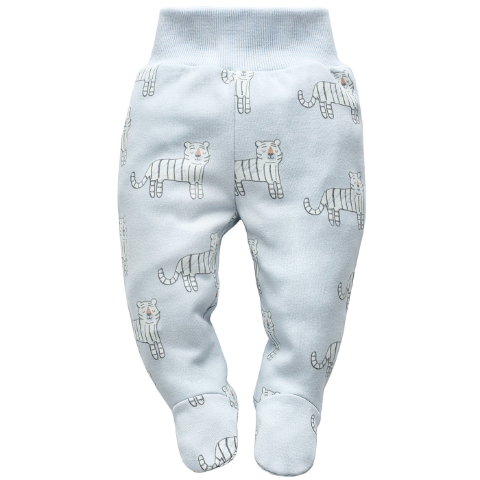 Pantalon pijama cu talpa bumbac 100%_blue_Wild animals 0