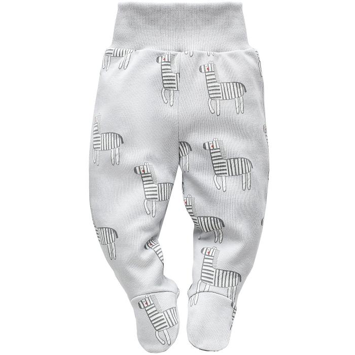 Pantalon tip pijama cu talpa, bumbac 100%, gri, baieti_Wild Animals 0