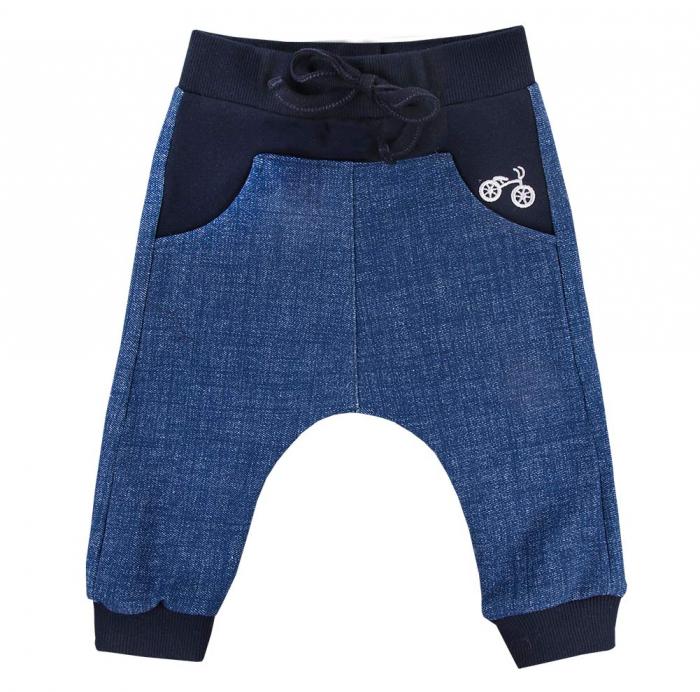 Pantalon lung, vara, bumbac 100%_baieti_Albastru/Blugi_BIKE 0