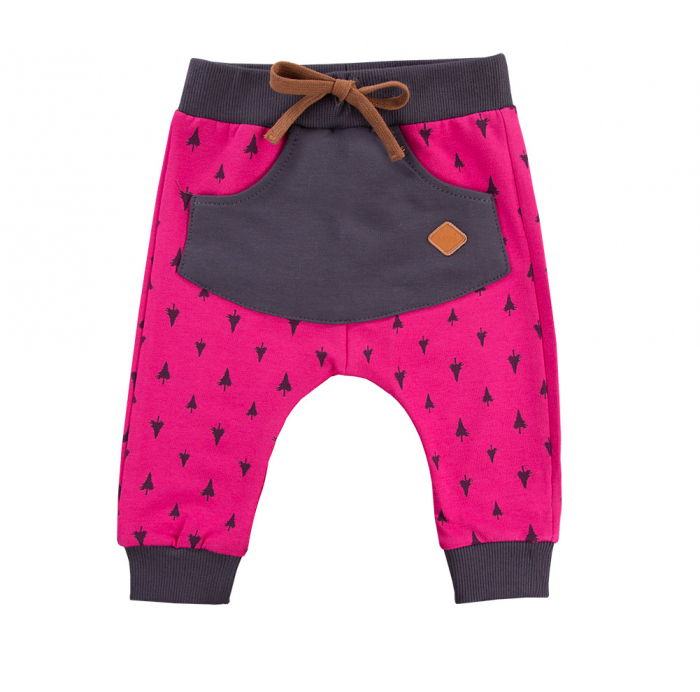 Pantalon lung cu buzunar, bumbac 100%, Roz/Gri, Trip 0