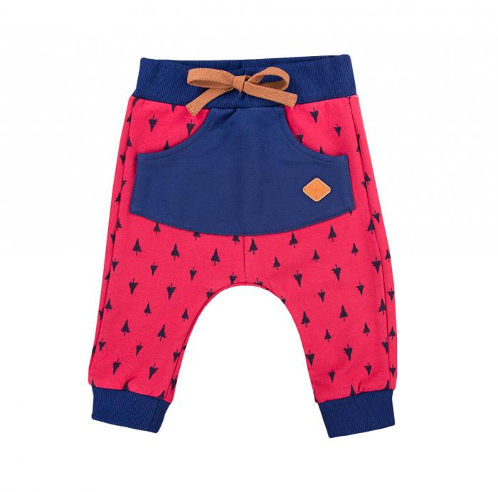 Pantalon lung cu buzunar, bumbac 100%, Rosu/Albastru, Trip [0]