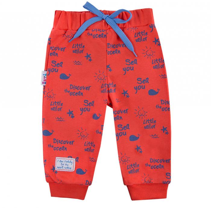 Pantalon trening, vara, bumbac 100%_baieti_portocaliu/albastru_Little Sailor [0]