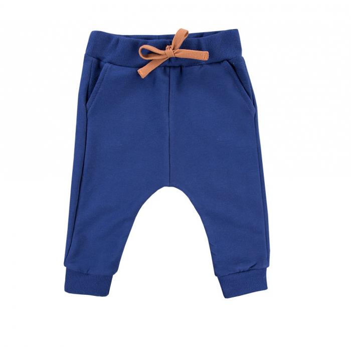 Pantalon lung cu buzunare, bumbac 100%_Albastru indigo_Trip 0