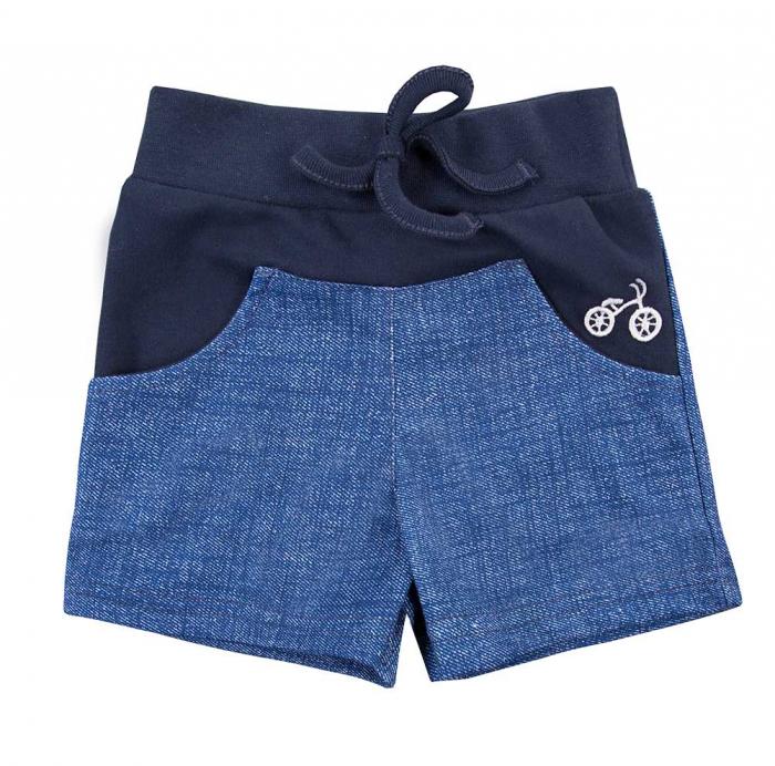 Pantalon scurt cu buzunare, bumbac 100%_baieti_Albastru/Blugi_BIKE [0]