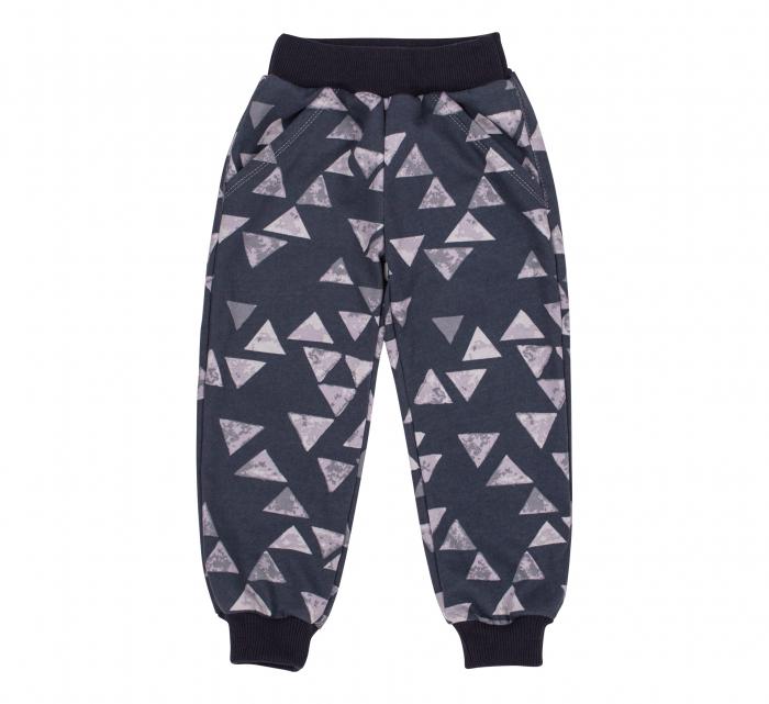Pantalon trening cu buzunare, baieti, Gri triunghiuri 0