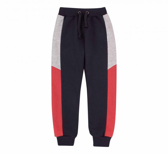 Pantalon lung trening, baieti, Gri petrol/Rosu gri 0