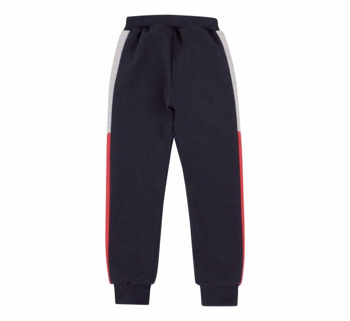 Pantalon lung trening, baieti, Gri petrol/Rosu gri 1