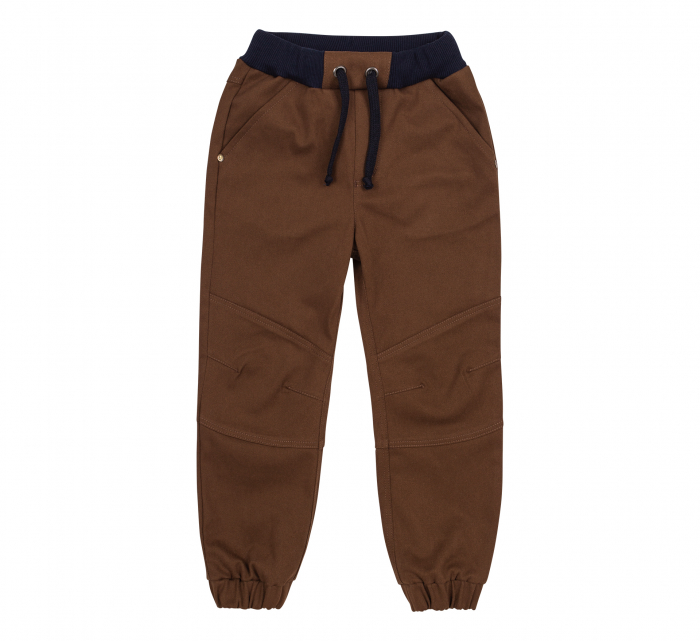Pantalon lung tip blugi, bumbac 100%, baieti, Maro 0