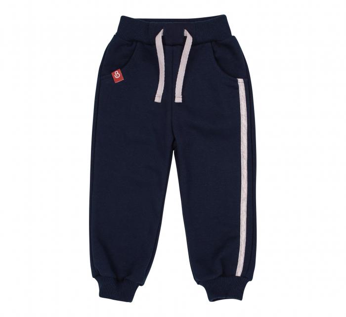 Pantalon trening cu buzunare, baieti, Albastru/Dunga gri 0