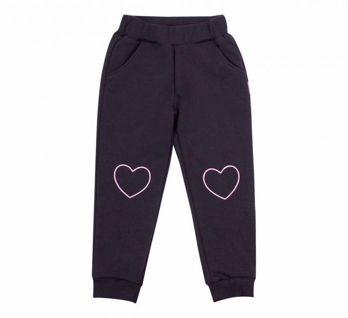 Pantalon lung cu buzunare, fete, Negru/Inimioara [0]