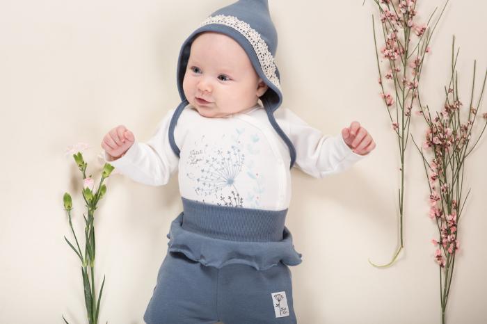 Pantalon pijama cu talpa bumbac 100%_Petit Lou_albastru 4