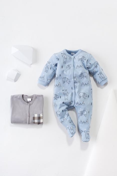 Pijama tip salopeta intreaga cu talpa bumbac 100%_North_blue 1