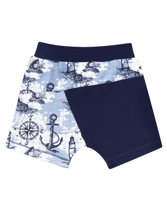 Pantalon scurt, bumbac organic 100%, baieti, Albastru/Marin [0]