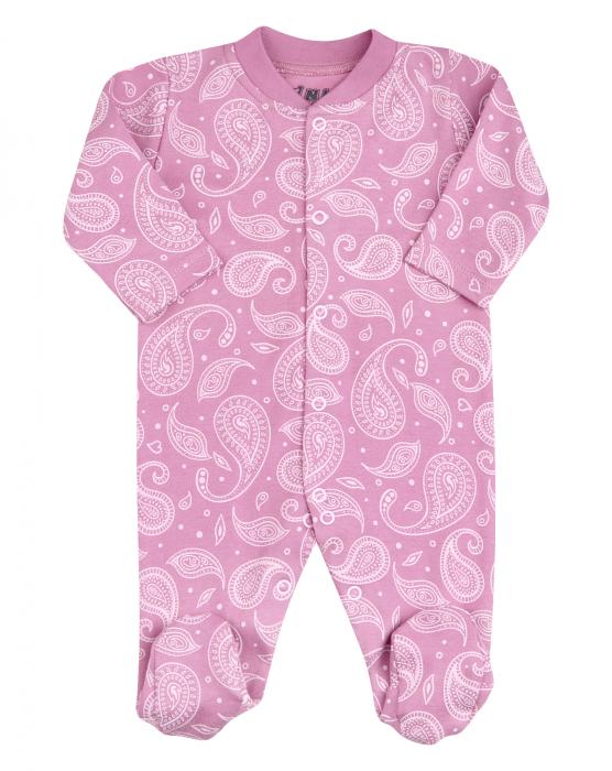 Pijama tip salopeta, intreaga cu talpa, bumbac organic 100%, fete, Roz inchis/Alb 0