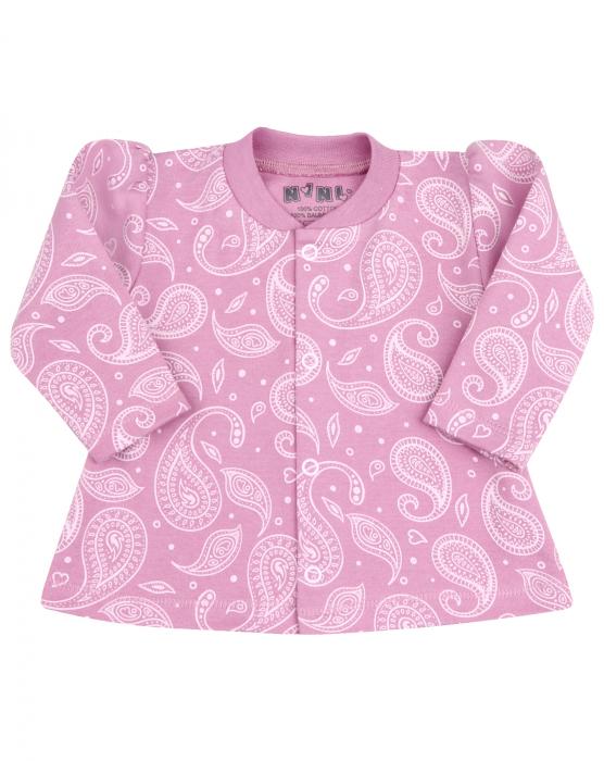 Bluza corp cu maneca lunga, bumbac organic 100%, fete, Roz inchis/Alb [0]