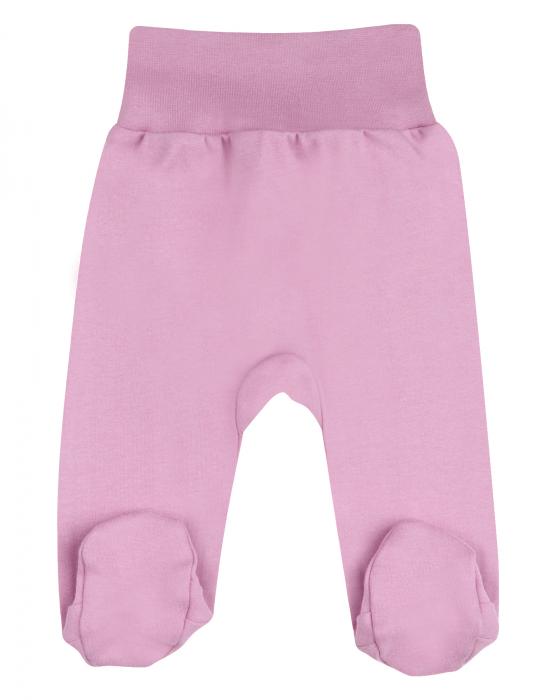 Pantalon tip pijama cu talpa, bumbac organic 100%, fete, Roz inchis 0