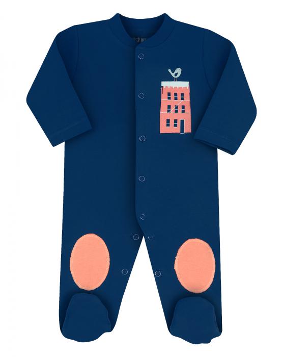 Pijama tip salopeta cu talpa, bumbac organic 100%, baieti, Bleumarin/City 0