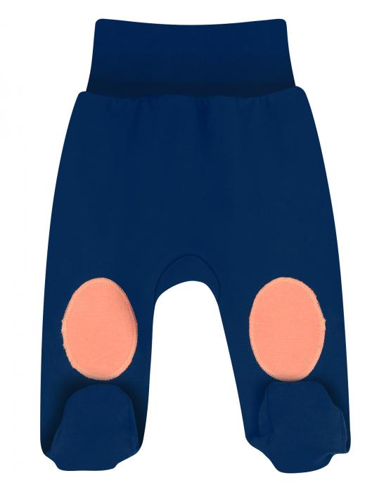 Pantalon tip pijama cu talpa, bumbac organic 100%, baieti, Bleumarin [0]
