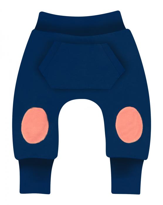 Pantalon lung, trening, bumbac organic 100%, baieti, Bleumarin [0]