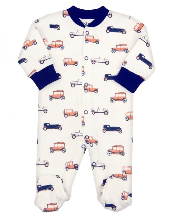 Pijama tip salopeta, intreaga cu talpa, bumbac organic 100%, baieti, Alb, Cars 0
